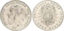 Baden 5 Mark 1876 G Friedrich I. f.ss,kl.Randfehler,Patina  (42850)