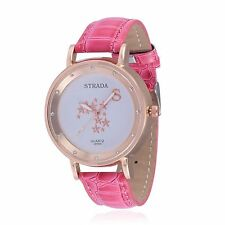 DESIGNER PINK FAUX LEATHER BAND ELEMENTARY GOLD STARS WATCH UNIQUE DESIGN LADIES