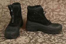 TOTES BOOM BLACK LEATHER INSULATED WATERPROOF WINTER SNOW BOOTS MENS SZ 11 EUC