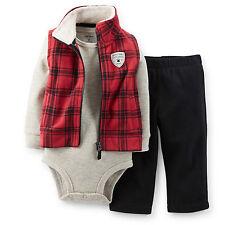 Carters Boys 3-Piece Red Microfleece Vest Set ~3 Months ~ Style # VC_121C739