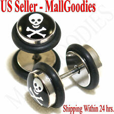 0344 Fake Cheater Faux Illusion Plugs 16G Look 0G 8mm Skull & Cross Bones