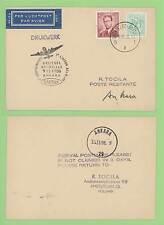 Belgium 1958 Sabena flight card, Brussels to Ankara, Turkey