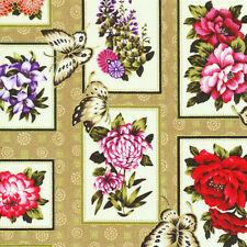 Cuarto gordo jardín asiático Mariposas Paneles Algodón Colchas de retazos de tela lo Fabri Edredón