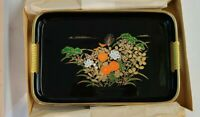 VINTAGE Japanese Black Lacquer Tray HAND PAINTED Floral Design 10.5 x 7 NOS