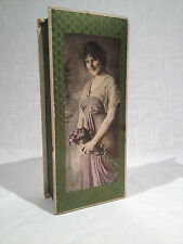 ANTIQUE CANDY BOX WITH PHOTO OF COY & PRETTY WOMAN GRAND FORKS, Ca. 1905-1912
