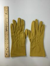 Vintage Ladies Gold Gloves 100% Nylon , Made In Usa, Near Mint