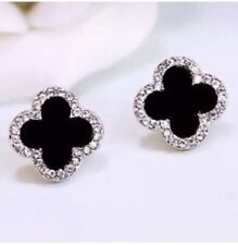 Zirconia Four Leaf Clover Post Earrings. Sterling Silver Black Onyx And Cubic
