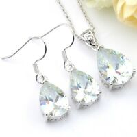 Drop Bright Fire White Topaz Silver Dangle Earrings Pendant Necklace Jewelry Set