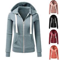Fashion Women's Long Sleeve Hoodie Slim Zipper Hooded Zipper Casual Sport Coat