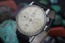 C. 1940's ANGELUS Chronodato Triple Date Chronograph Stainless Steel Men's Watch
