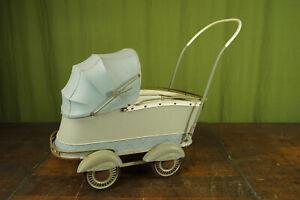 50er Vintage Korbkinderwagen Puppenwagen Mid-Century Kinderwagen 60er