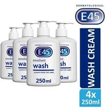 4 x E45 Dermatological Emollient Wash Cream 250ml Soap Free