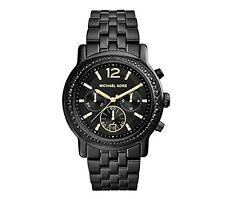 NWT Michael Kors Women's Watch Black Steel Bracelet & Gold BAISLEY MK5984 $275