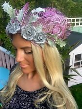 Pink Glitter Peacock Feathers Silver Rose Flower Crown Hair Band Choochie Dance