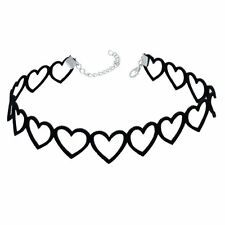 Hollow Heart Choker Black Velvet Pendant Chain Necklace Gothic Punk Jewelry Hot