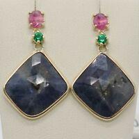 Pendientes de Oro Amarillo 9K con Zafiros Azul y Rosa y Peridoto Made IN Italy