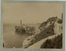 Angleterre Gibraltar Le Phare Vintage albumen print. Tirage albuminé  17x22