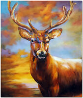 Hand Painted Deer Buck Oil Painting On Canvas - Modern Impressionist Animal Art