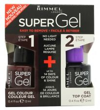 RIMMEL SUPER GEL GIFT SET 12ML NAIL POLISH IN 043 VENUS + 12ML TOP COAT. NEW