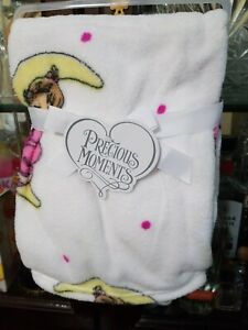Precious Moments Baby Blanket White Pink Little Girl Sleeping on Moon 30x40