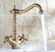 Antique Brass Swivel Bathroom & Kitchen Basin Mixer Water Tap Sink Faucet lnf078