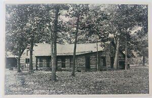 Vintage Momence Illinois IL RPPC Old Log Cabin Dance Hall Postcard 1910