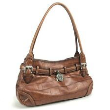 Brighton Vintage Brown Croc Embossed Leather Heart Lock Key Medium Shoulder Bag
