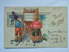 BUON CAPO D'ANNO GNOMO dwarf nano elf gnome elfo old postcard AK cartolina