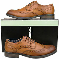 Mens New Lace Up Burnished Tan Leather Formal Brogue Shoes Size 6 7 8 9 10 11 12