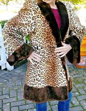 STUNNING 40s Vintage Leopard Print FUR Swing Coat 3/4 Lgth Size Sm-Med GLAM BIN!