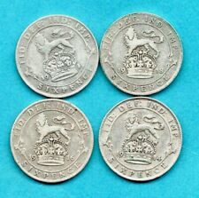 More details for 4 x silver sixpence coins. king george v. 1914 - 1919.  6d job lot.