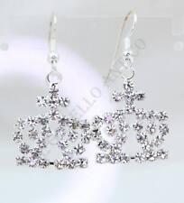 Orecchini Corona Crown Queen Placcati Oro bianco Strass Brillanti