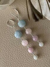 Aquamarine Morganite Jadeite Kunzite Drop Earrings Sterling Silver lever backs