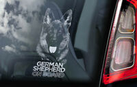 German Shepherd - Car Window Sticker - Alsatian Dog on Board Sign GSD Decal -V22