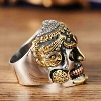 Cool Men Stainless Steel Ring Gothic Punk Skull Crystal Zircon Jewelry Eye K3X3