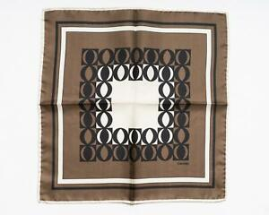 Tom Ford New Brown Black Ivory Geometric Pattern 100% Silk Pocket Square
