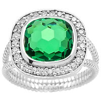 Emerald Simulated 925 Sterling Silver Ring s.7 Jewelry SDR79716 7538