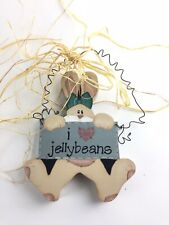 Wooden Easter Bunny I love Jellybeans Hanging Sign Spring Decoration Wood