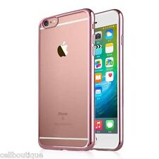 Transparent Rose Gold Slim Gel Case and Screen Protector for iPhone 6 6S Bumper