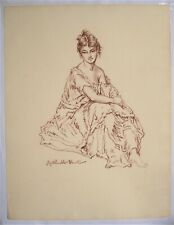 RUSSELL FLINT. Study of a female in brown chalk on w/marked paper.