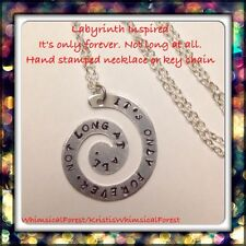 Handmade Labyrinth Inspired It's Only Forever. Not Long At All. Stamped Necklace