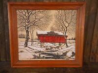Vintage Framed Print of Covered Bridge Winter On Linen by Warren Boucher