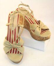 Madden Girl Beige Espadrille Sling Back Open Toe Cork Wedge Womans Size 8.5 Shoe