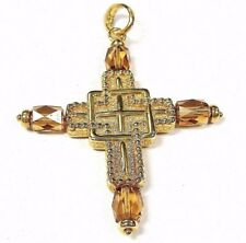 LARGE 14k Yellow Gold Genuine Cross Bar Amber Design Latch Necklace Pendant