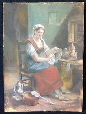 Scène de genre technique mixte XVIIIe signée ? suiveur de Chardin et Greuze
