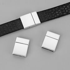5sets Matte Silver Magnetic Clasp for Flat Leather Cord Jewellery Findings