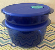 Tupperware Rock N Serve Set of Two Containers Microwave Safe Blue w/ Aqua Spout