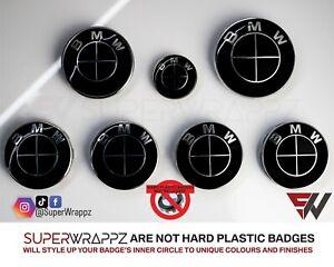 BLACK GLOSS Badge Emblem Overlay FOR BMW Sticker HOOD TRUNK RIMS @FITS ALL BMW@