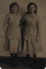 OLD VINTAGE ANTIQUE TINTYPE PHOTO of CICELY & BELLE PRETTY YOUNG TEEN GIRLS