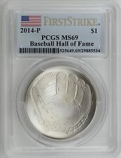 2014-P $1 Baseball Hall of Fame Uncirculated Silver PCGS MS69 First Strike